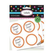 Orange Buffet de Bonbons Faveur Paquet à Personnaliser Autocollant Étiquettes 20