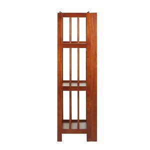 3 Shelf 14 Inch Folding Office Furniture Wood Bookcase, Mahogany
