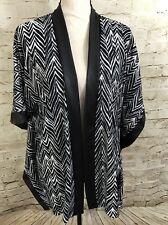 NEW SLINK BRAND Black White Chevron Print Cardigan Cover Up Jacket F6042