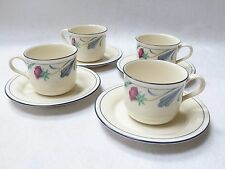 """Lenox Coffee Cups & Saucers - """"POPPIES ON BLUE"""": Set of 4"""