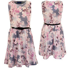 Kids Lilac Purple Floral Print Sleeveless Belted Children's Flare Skater Dress