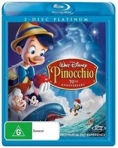 Pinocchio BLU RAY (2 DISC) Walt Disney 70th Anniversary platinum Edition REG B