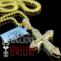 New Yellow Gold Tone On Real Sterling Silver Cross Charm Necklace Chain Pendant