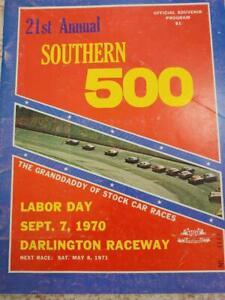 1970 NASCAR DARLINGTON SOUTHERN 500 RACE PROGRAM BUDDY BAKER RACE WINNER