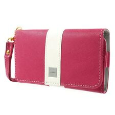 Universal Textured Leather Purse Clutch Wallet Card Case Strap -mobile Phone a Apple iPhone 3gs 4 4s Hot Pink