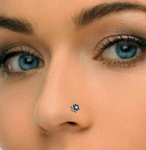 Flower Nose Piercing Ring Pin Stud Blue Sapphire & Diamond 14k Yellow Gold Over