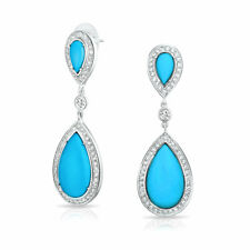 Blue Resin Statement Dangle Chandelier Teardrop Earrings Prom Silver Plate Brass