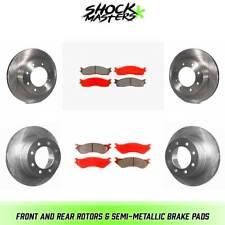 4 Black Coated Cross-Drilled Disc Brake Rotors Heavy Tough-Series Front+Rear Kit Fits:- Dodge Ram 8 Semi-Metallic Pads 8lug