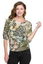AMAZING LEOPARD SUBLIMATION PRINT 3/4 SLEEVE WITH BANDED BOTTOM TOP SIZE 1X