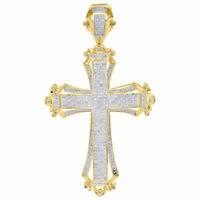 "10K Yellow Gold Round Diamond Fancy Cross Pendant 2.90"" Mens Pave Charm 1.14 Ct."