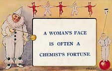 POSTCARD  COMIC   A woman's face is....