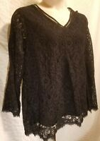 Style&co Woman Plus Size 1X NWT Black Lace Swing V Neck Long Sleeve Blouse Top