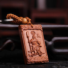 Kwan Guan Gong Yu Wood Carving Sculpture Chinese Pendant Key Chain Keyring Craft
