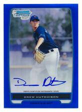 2012 BOWMAN CHROME DREW HUTCHISON RC BLUE REFRACTOR AUTO AUTOGRAPH #138/150