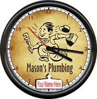 Plumbing Plumber Tools Retro Vintage Personalized Your Name Sign Wall Clock