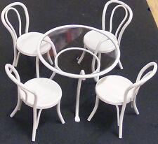 SCALA 1:12 bianco metallo tavolo e quattro sedie casa delle bambole miniatura CAFE PUB GIARDINO