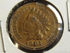 1901 Indian Head Penny, AU, About Uncirculated, 4 Diamonds