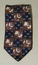 Vintage Via Manzoni Italian Silk Necktie Neck Tie 16636 Navy Blue Brown Mod