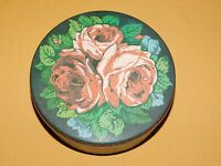 "VINTAGE 6 1/2"" ACROSS METAL ROSES FLOWER TIN"