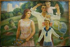 Russian Ukrainian Soviet Oil Painting child girl portrait family genre realism