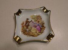 Porcelain Ashtray Limoges France Gold Embellished Fragonard Courting Couple