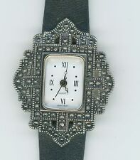AVON QUARTZ JAPAN MOVT VINTAGE BEADED BORDER BLACK LEATHER BAND WATCH 0852