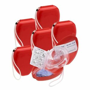 CPR Mask + Hard Case + Gloves-Adult/Child Pocket Resuscitator 6 Pack Pocket O2