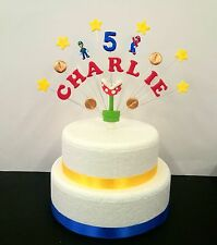 Super mario and luigi theme birthday cake topper,  personalised name and age
