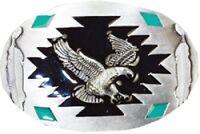 Western Design Eagle Belt Buckle Turquoise colors Patriotic USA