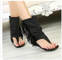Roma Womens Tassels Fringe Thong Boots Sandal Flat Shoes Summer Black Chic