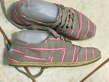 Toms Gray Pink Striped Canvas Espadrilles Sneakers Lace Up Shoes Women's Sz 9