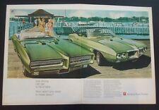1969 Pontiac GTO cv Firebird  2 pg General Motors Hot Rod car print ad gift 1968