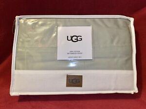 Ugg Petrina 600 Thread-Count Sateen Cotton Queen Sheet Set Mineral Green NIP