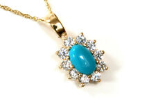 "9ct Gold Turquoise and CZ Pendant and 18"" Chain Made in UK Gift Boxed"