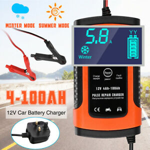 12V Smart Intelligent Car Battery Charger Automatic Pulse Repair LCD Charger