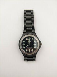 Vtg US Marines Sapphire Crystal Ceramic Swiss Watch Co.Mens Wrist Watch *BROKEN