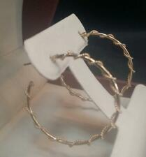 """Vintage 14K Yellow Gold Round Hoop Twist Rope Wire Wrapped Around Earrings 1.5"""""""