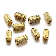 50pcs Tibetan Alloy Metal Beads Cuboid Double Vortex Loose Spacers Gold 10.5mm