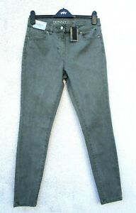 Next Khaki Skinny Jeans Size 12 Long High Rise with Stretch