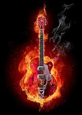 Quemado Rojo Guitarra Papel pintado Fotomural negro y rojo moderno