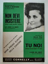 ITALY SHEET MUSIC ULLA PIA TU NO! ITALIAN LANGUAGE DENMARK EUROVISION 1966