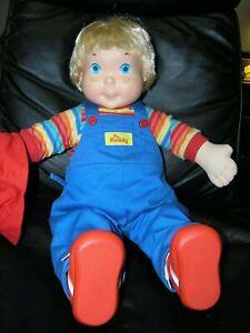 "Vintage My Buddy Doll Blonde Hair Blue Eyes Original 1985 Blue Overalls 22"""