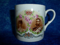 Antique 1911 King George V Queen Mary PERSONALISED CORONATION CUP Crown Pottery