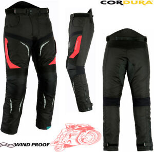 RED & BLACK MENS VENTED CORDURA ARMOUR MOTORBIKE MOTORCYCLE TEXTILE TROUSERS