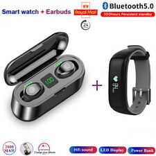 Smart Watch Fitbit Android iOS Heart Rate Plus TWS Wireless Earbuds Headphones