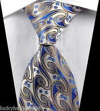 New Classic Paisleys Brown Blue Beige JACQUARD WOVEN 100% Silk Men's Tie Necktie