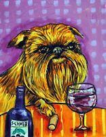 Brussels Griffon at the wine bar  dog art print 8x10 modern artwork