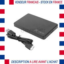 BOITIER EXTERNE PLASTIQUE NOIR MICRO USB 3.0 POUR DISQUE DUR SATA SSD 2.5 CORDON