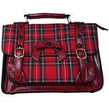 Banned Handtasche / Henkeltasche - Leather Bow Tartan Rot