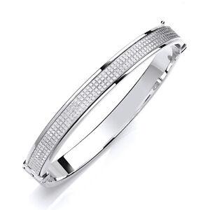 Jewelco London Silver Moondust Eternity Style Bangle Bracelet 7mm